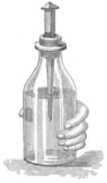 A Leiden jar is a primitive capacitor (also known as a condenser) that stores static electricity like a battery.